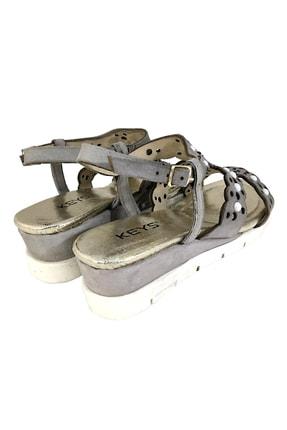 Keys Kadın Hakiki Deri Sandalet Mat Gri 1
