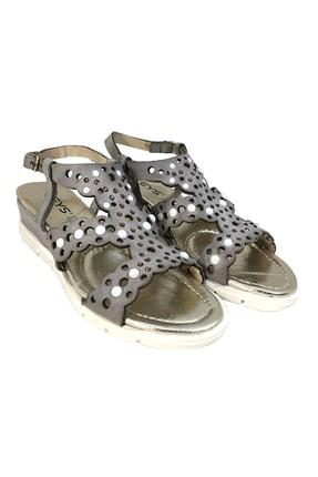 Keys Kadın Hakiki Deri Sandalet Mat Gri 2