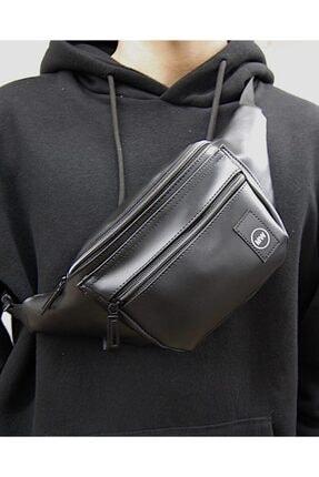 Moda West Unisex Siyah Suni Deri Bel Ve Omuz Çantası 3