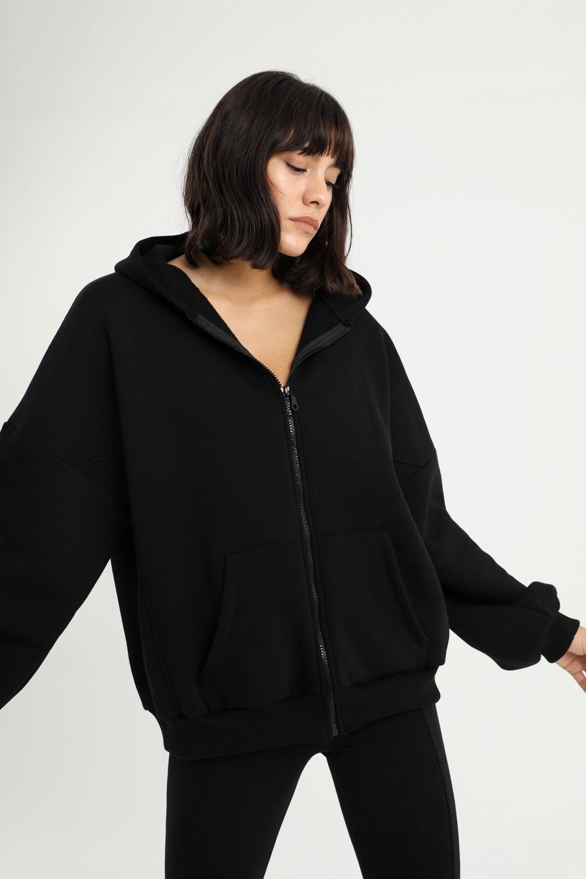 Kadın Siyah Oversize Sweatshirt