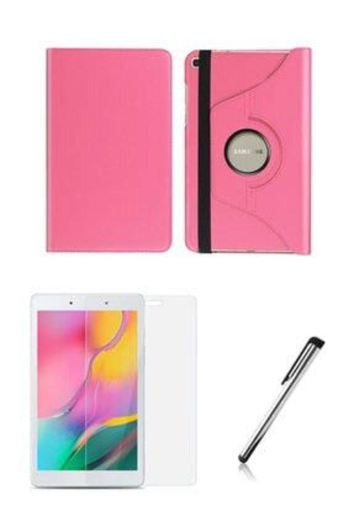 "Samsung Galaxy Tab A Sm T290 / T297 8"" 360 Derece Pembe Standlı Tablet Kılıfı Set"