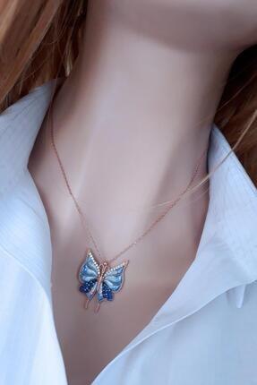 Rams Gümüş Kadın Mavi Kelebek Etkisi Kolye RGK30418 1