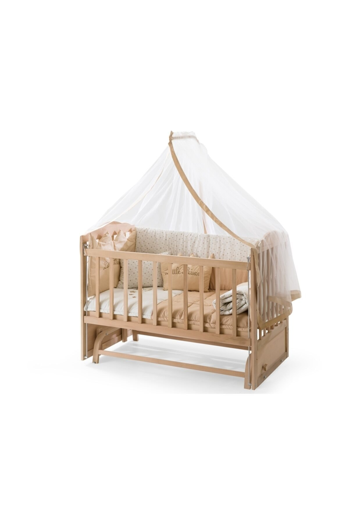 Ahşap Anne Yanı Beşik Sallanır Beşik Organik 60x120 + Krem Prenses Uyku Seti + Yatak + Tekerlek