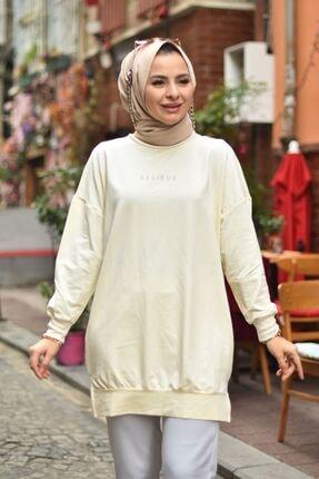 Loreen Kadın Krem Believe Baskılı Basic Tunik 2