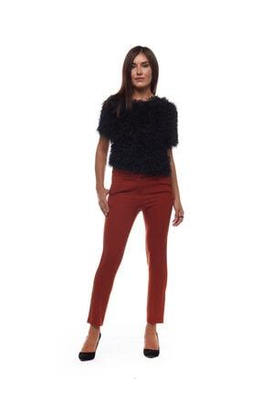 Kadın Kiremit Çıtçıt Detaylı Bilek Boy Pantolon syh9100th