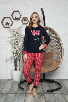 Kompedan Kadın Lacivert Desenli Polar Pijama Takımı Rnd 5806 0