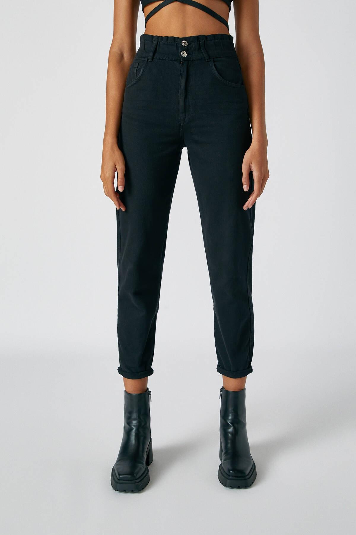Pull & Bear Kadın Siyah Geniş Elastik Belli Slouchy Jean 05670342 1