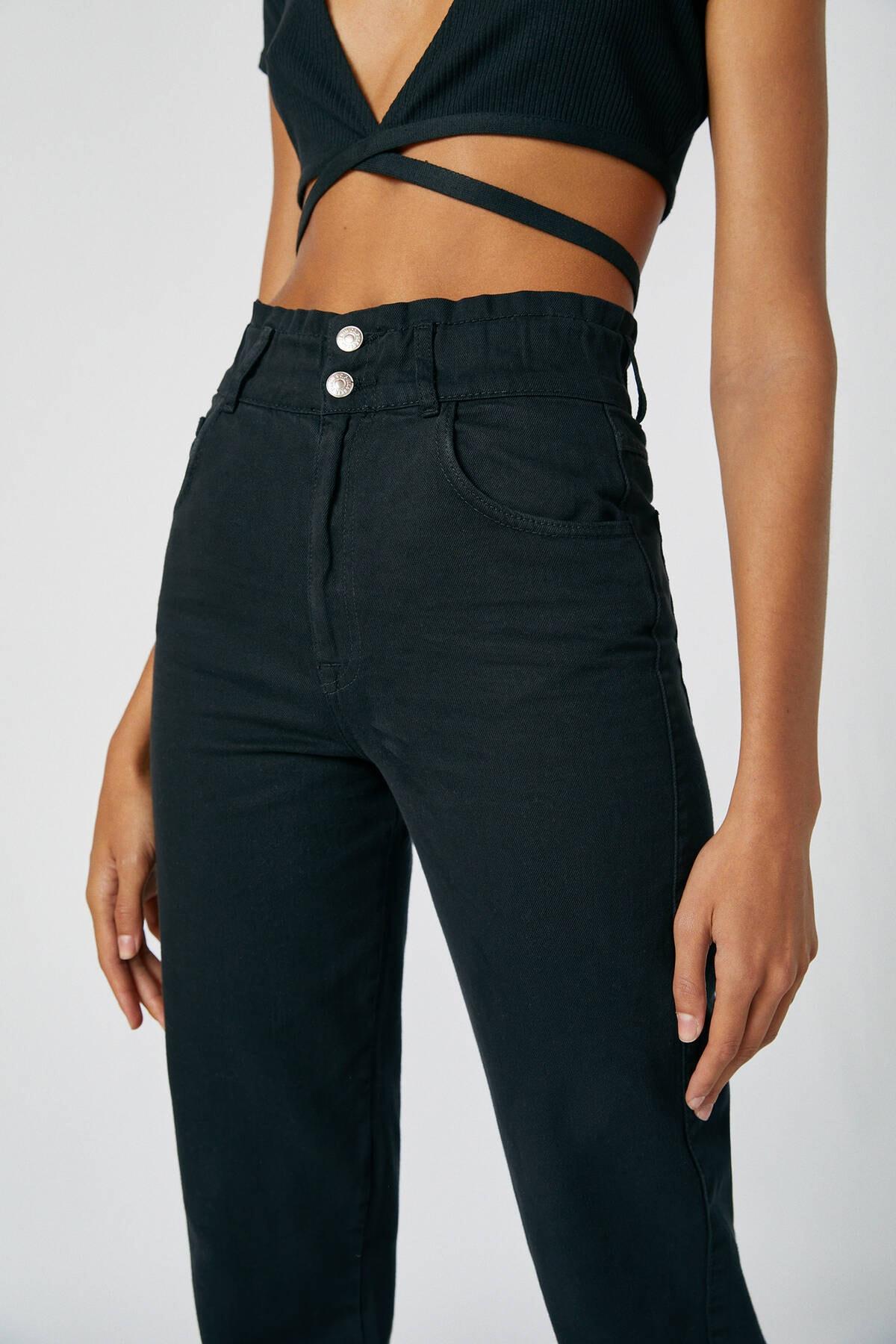 Pull & Bear Kadın Siyah Geniş Elastik Belli Slouchy Jean 05670342 4