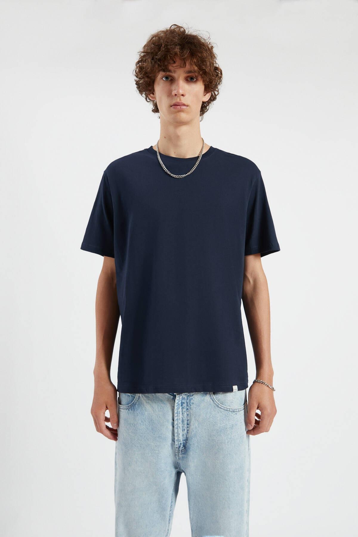 Pull & Bear Erkek Lacivert Join Life Basic T-Shirt 09244500 0