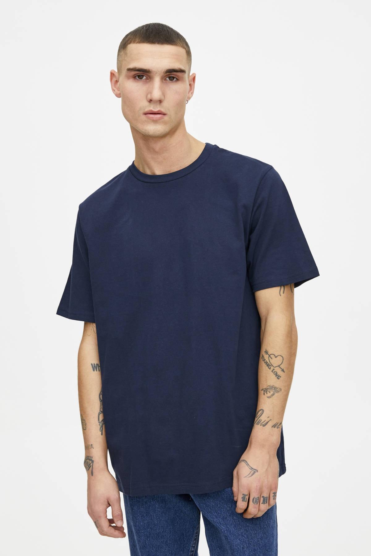 Pull & Bear Erkek Lacivert Join Life Basic T-Shirt 09244500 1