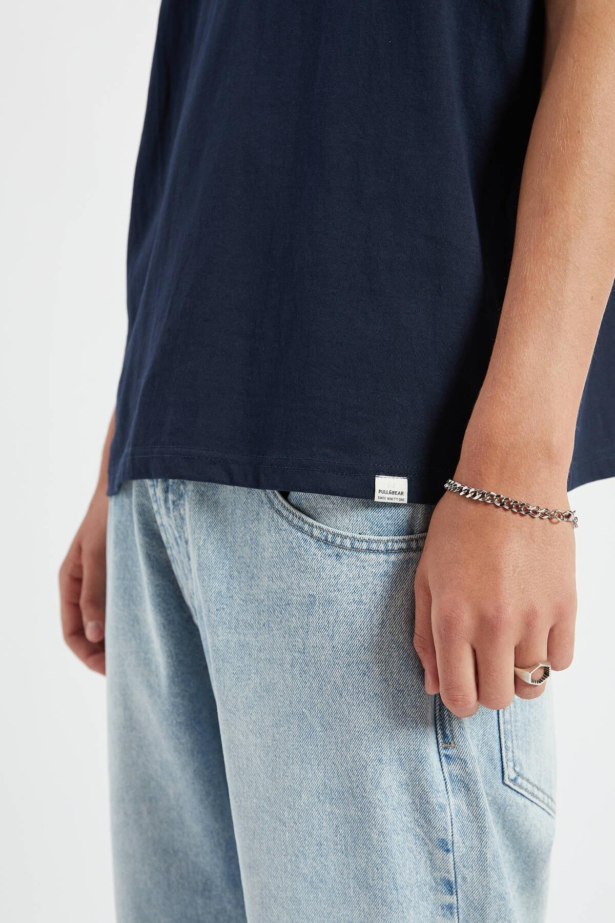 Pull & Bear Erkek Lacivert Join Life Basic T-Shirt 09244500 4