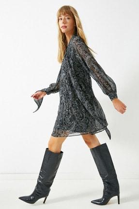 Koton Kadın Gri Sifon Sal Desenli Fular Yaka Kisa Elbise 1KAK82956UW 0