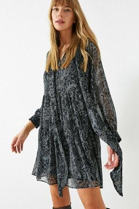 Koton Kadın Gri Sifon Sal Desenli Fular Yaka Kisa Elbise 1KAK82956UW 2