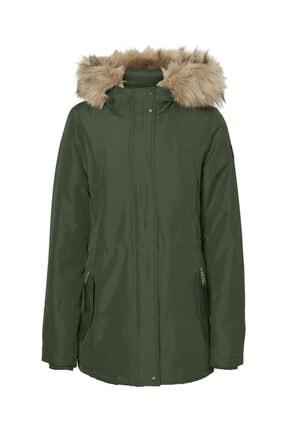 Vero Moda Kadın Yeşil Belden Büzülebilir Kapüşonu Kürklü Mont 10230808 VMEXPEDITIONHIKE 1