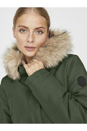 Vero Moda Kadın Yeşil Belden Büzülebilir Kapüşonu Kürklü Mont 10230808 VMEXPEDITIONHIKE 4