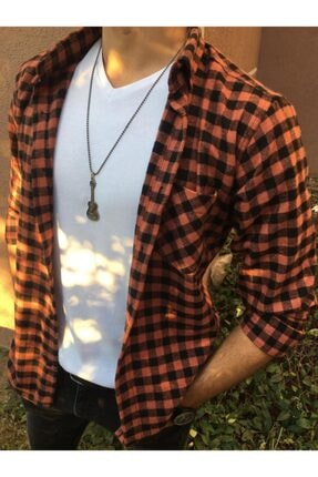 Grunge Moda Erkek Kiremit Renk Oduncu Gömlek 0