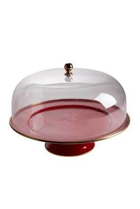 Emsan Troy Emaye 30 cm Ayaklı Kek Fanus Kırmızı 1