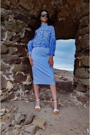 FATMASAVUL Kadın Mavi Korint Gömlek 1