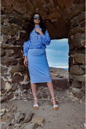 FATMASAVUL Kadın Mavi Korint Gömlek 2