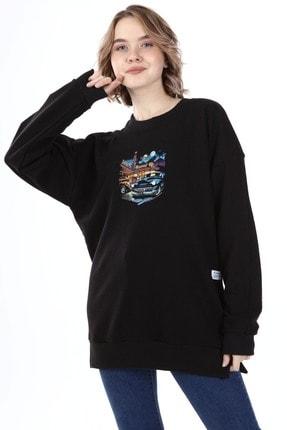 Millionaire Kadın Siyah Yırtmaçlı Revved Up Baskılı Oversize Sweatshirt 2
