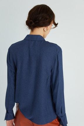 Rue Kadın Lacivert Dökümlü Drapeli Gömlek 21102079 3