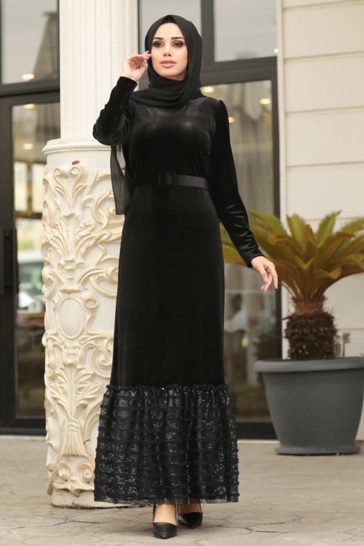 Neva Style Kadın Altı Detaylı Siyah Tesettür Kadife Elbise 11039s
