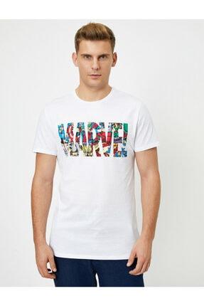 Koton Erkek Beyaz Marvel Lisanslı Yazılı Yarım Kollu T-Shirt 2