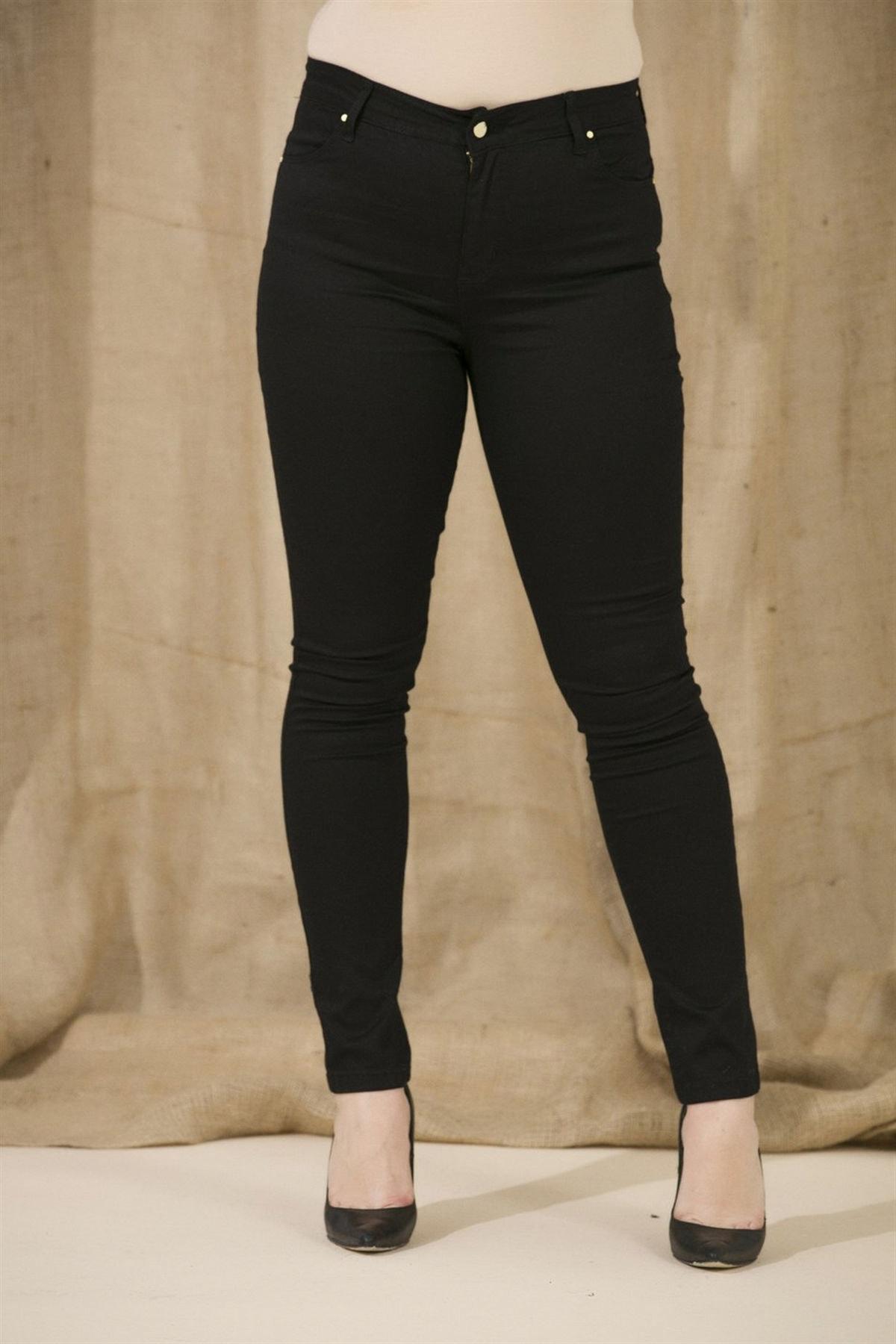 Kadın Siyah Kanvas Yüksek Bel Dar Paça Pantolon  Rg1239pb