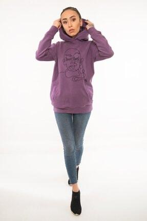 Kanduras Kadın Mor Kapüşonlu Sweatshirt 0