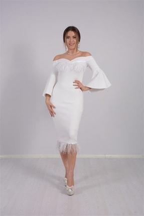 giyimmasalı Kadın Beyaz Krep Kumaş Tüy Detaylı Tasarım Elbise 1