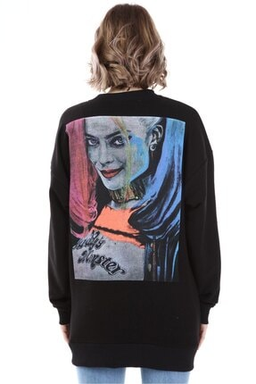 Millionaire Kadın Siyah Harley Quinn Baskılı Oversize  Sweatshirt 1