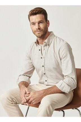 Altınyıldız Classics Erkek Bej Düğmeli Yaka Tailored Slim Fit Oxford Gömlek 0