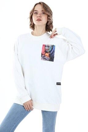 Millionaire Kadın Ekru Harley Quinn Baskılı Oversize Sweatshirt 1