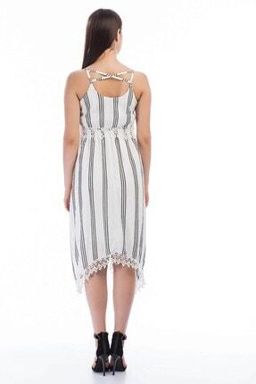 Cotton Mood Kadın Ekru Siyah Şile Bezi Çizgi Desenli Çapraz Askılı Elbise 1