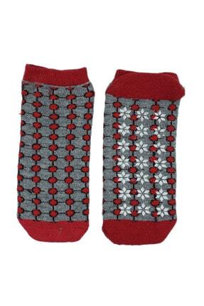 NZR GROUP Kadın Kırmızı Termal Çorap Poffy Kaydırmaz Tabanlı 0