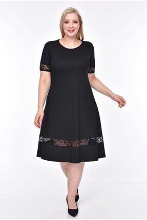 Şirin Butik Kadın Siyah Şerit Tül Detaylı Esnek Viskon Kumaş Elbise 0