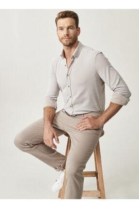 Altınyıldız Classics Erkek Bej 360 Derece Her Yöne Esneyen Düğmeli Yaka Örme Tailored Slim Fit Gömlek 0