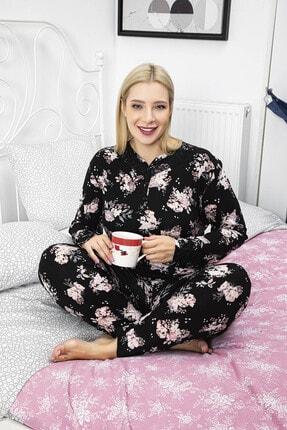 Giyinsende Kadın Siyah Çiçek Desenli Battal Pijama Takımı 0