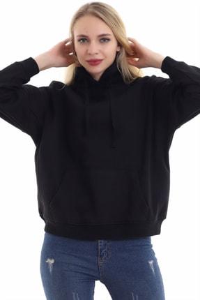 boffin Kadın Siyah İçi Pamuklu Oversıze Sweatshirt 1