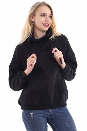 boffin Kadın Siyah İçi Pamuklu Oversıze Sweatshirt 3