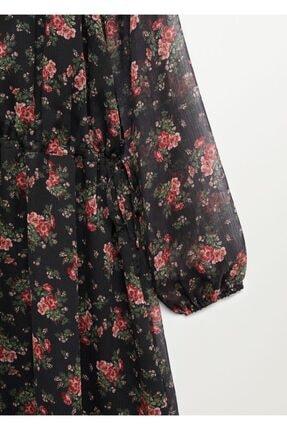 Mango Kadın Kırmızı Desenli Dökümlü Elbise 4