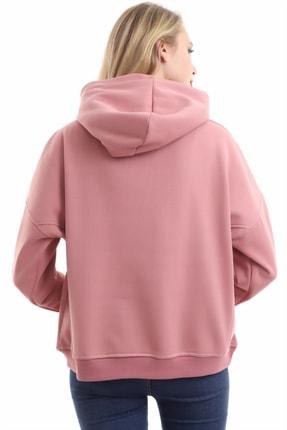 boffin Kadın Gül Kurusu Içi Pamuklu Oversıze Sweatshirt 3