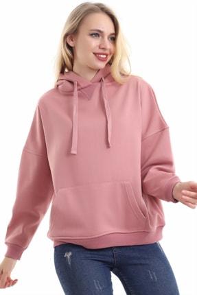 boffin Kadın Gül Kurusu Içi Pamuklu Oversıze Sweatshirt 4