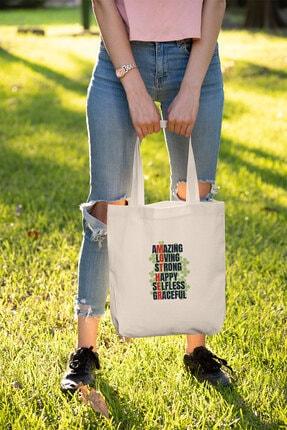 Modakedi Bag Hayret Verici Sevgi Güçlü Mutlu Özverili Ve Zarif Alışveriş Plaj Bez Çanta 1