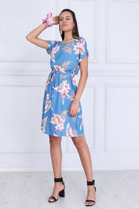 Cotton Mood Kadın Mavı Çıçeklı VisDesenli Beli Lastikli Yarasa Kol Elbise 9343431 2