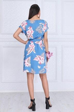 Cotton Mood Kadın Mavı Çıçeklı VisDesenli Beli Lastikli Yarasa Kol Elbise 9343431 3