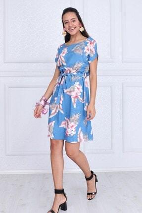 Cotton Mood Kadın Mavı Çıçeklı VisDesenli Beli Lastikli Yarasa Kol Elbise 9343431 4