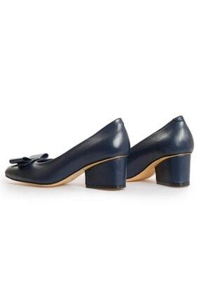 Flower Kadın Lacivert Deri Fiyonk Detaylı Topuklu Ayakkabı 2
