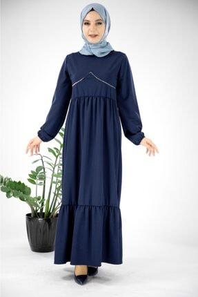 Kollari Firfirli Tesettür Elbise Lacivert-mn8110-046 120M00500061046