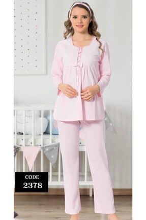 ALİMER Kadın Pembe Hamile Lohusa Emzirme Pijama Takımı 2